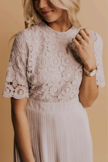 Vestido Importado Elegante . Falda Plisada