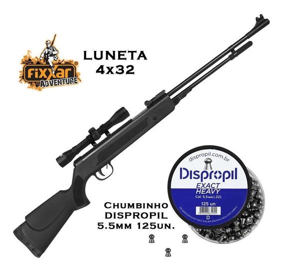 Carabina Fixxar Spring Black 5.5mm + Luneta 4x32 + Chumbinho