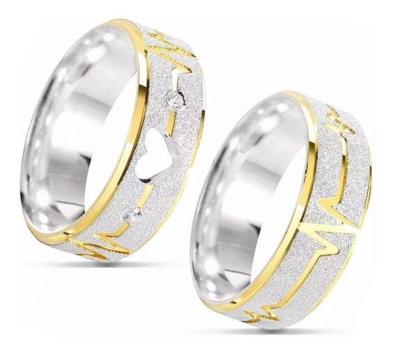 Par Alianças Namoro Compromisso Prata 950 Coração Ouro Luxo