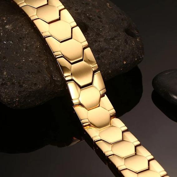 Pulseira Bracelete Masculino Aço Banhada Ouro18k Prata Aço