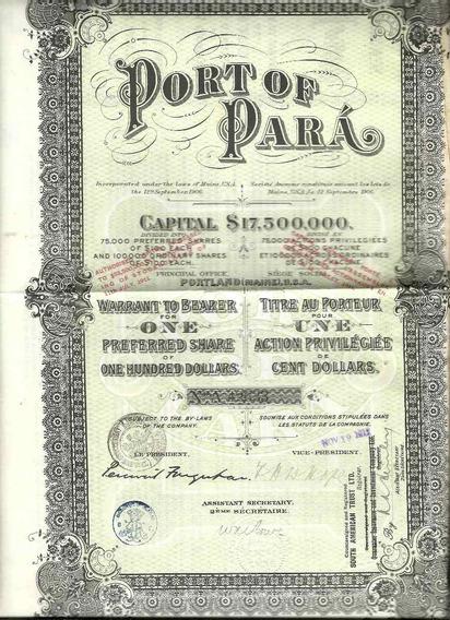 Apólice Port Of Para 1917 Capital $ 17,500,000 Com 21 Cupons