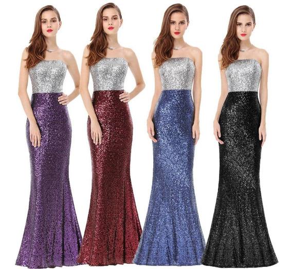 Lote De 5 Vestidos De Fiesta Corte Sirena Liquido!