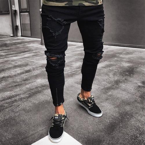 Pantalones De Hombre Skinny Jeans Negro Rasgado Cremallera E Mercado Libre