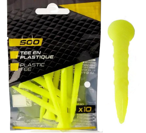 Imagem 1 de 4 de Kit C/ 10 Tee De Golf 70 Mm De Plástico Elevação Bola Golfe