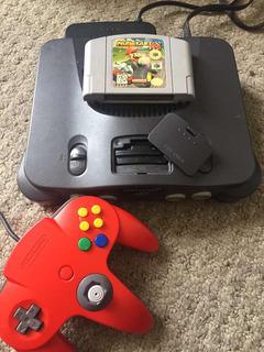 Nintendo 64 Original Con Juego Mario Kart Y Palanca Roja