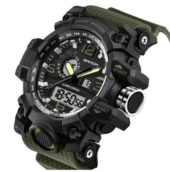 3 Relógio Masculino Sanda 742 Militar S-shock Grande Brinde