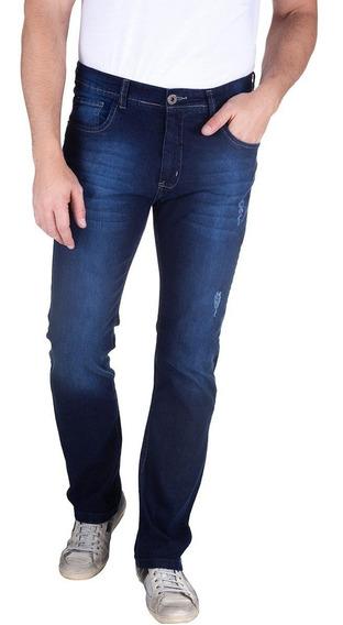 Calça Jeans Com Lavagem E Puido Azul Marinho 49538 Colombo