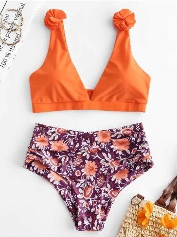 Bikini Con Control De Abdomen Floral - Multicolor