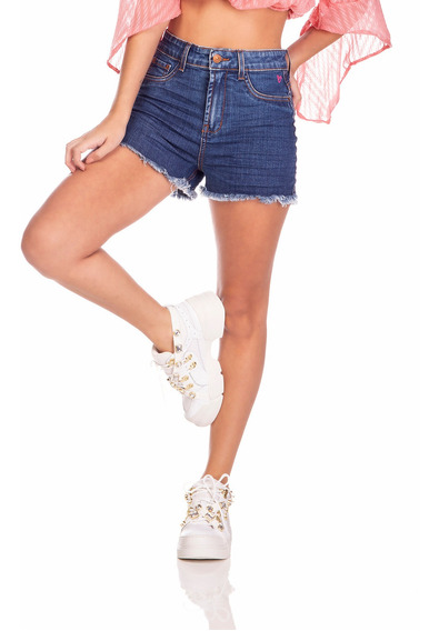 Shorts Jeans Denim Zero Pin Up Estampa Rosa Neon-dz6378
