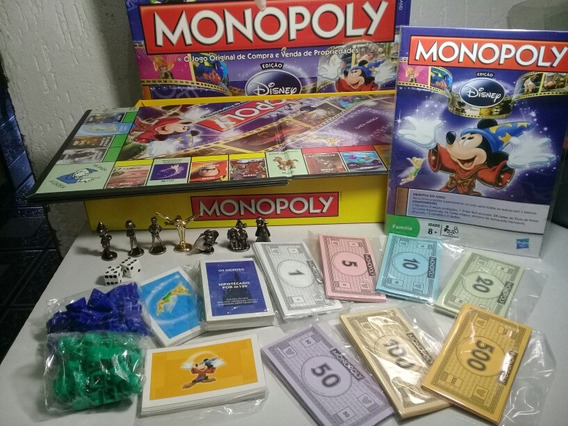 Jogo Monopoly Edição Disney C/ Miniaturas De Metal Completo!