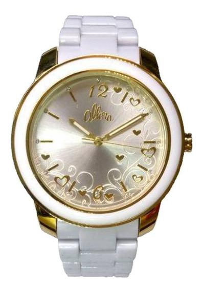 Relógio Analógico Allora Al2035hf/2b Branco E Dourado