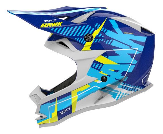 Casco Moto Hawk Zx7 Mx Cross Enduro Azul Tienda Oficial