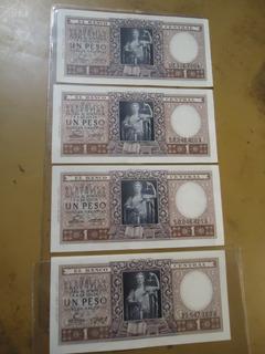 Billete Argentinos $ 1 Moneda Nacional Lote De Cuatro