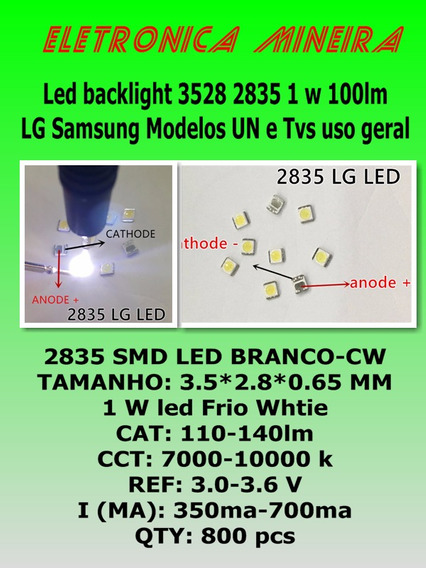 10x Led Smd Backlight 2835 3528 1w -100lm Tv Sansung Lg