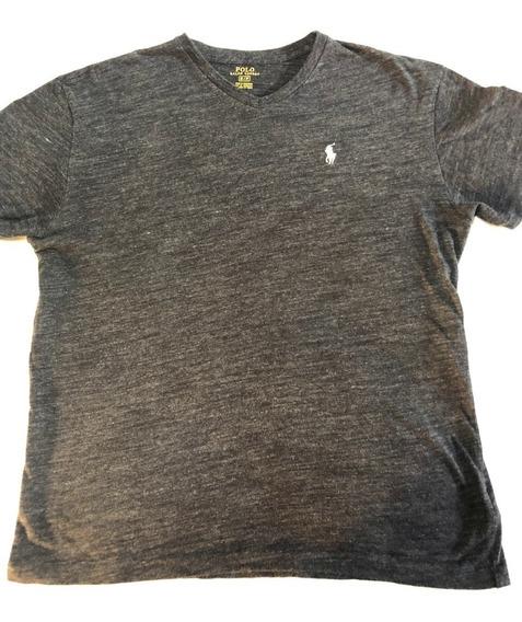 Polo Ralph Lauren Camisa Gris Caballo Blanco Small Cuello V