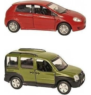 Kit 2 Miniaturas Carros Do Brasil Fiat Punto+doblo - 11 Cm
