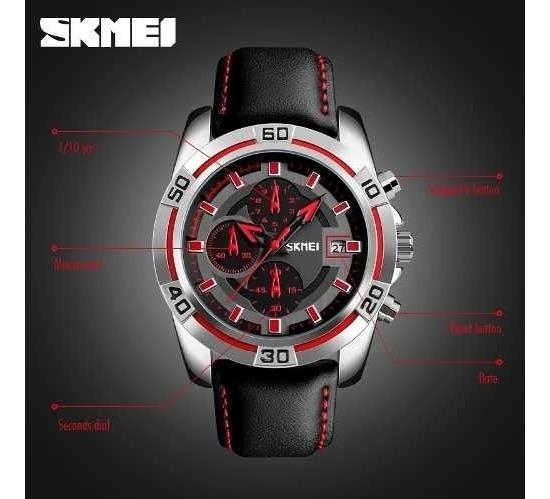 Reloj Elegante Negro Con Rojo