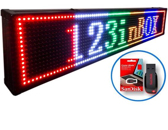 Letreiro Led Digital 5 Cores Fixas Painel 1,00 X 0,20 Mt Usb