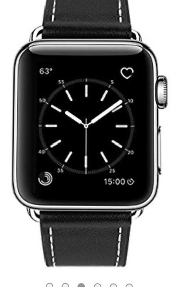 Correa De Cuero Negra Compatible Con Apple Watch 42mm