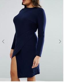 Vestido Coctel Azul, Corte Pierna. Plus Size (talla 46)