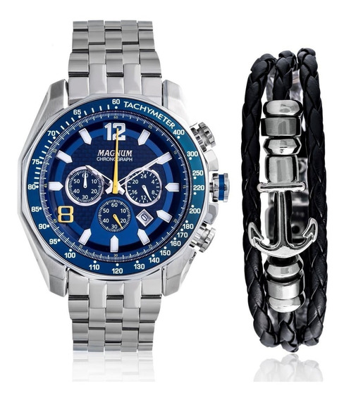 Relógio Magnum Masculino Prata Ma32167o + Pulseira