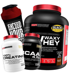 Kit Whey Protein 2kg + Bcaa + Creatina + Coqueteleira Full