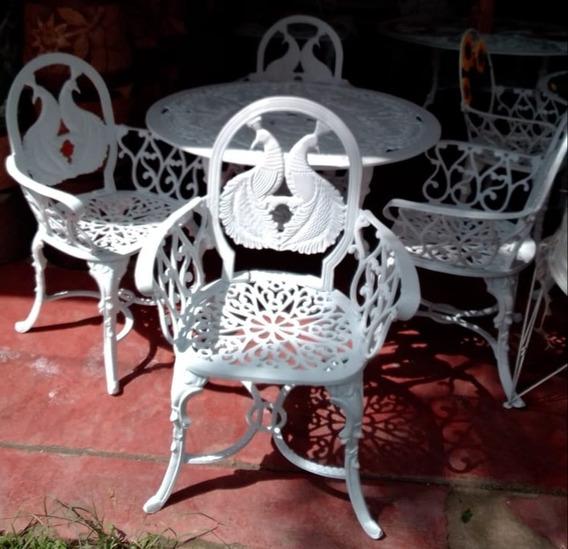 Comedor De Aluminio 4 Sillas Y 1 Mesa Para Jardín- Pavo Real