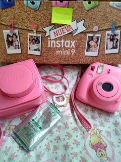 Kit Cámara Instantánea Instax Mini 9 Rosada+10 Fotos+estuche