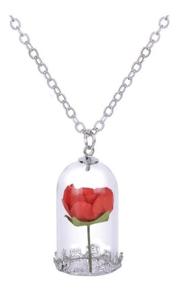 Hermoso Collar Con Dije De Flor Roja Encapsulada, Cristal
