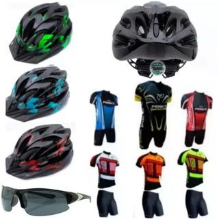 Conjunto Roupa Ciclismo + Óculos De Brinde + Capacete Bike