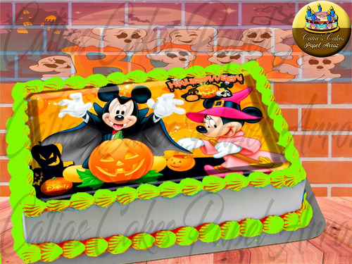 Papel De Arroz Comestível P/ Bolo Halloween Turma Do Mickey