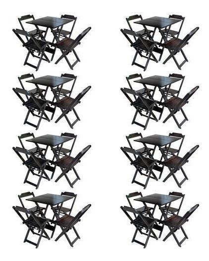Kit 8 Jogos De Mesa Com 4 Cadeiras De Madeira Dobravel 70x70 Ideal Para Bar E Restaurante - Tabaco