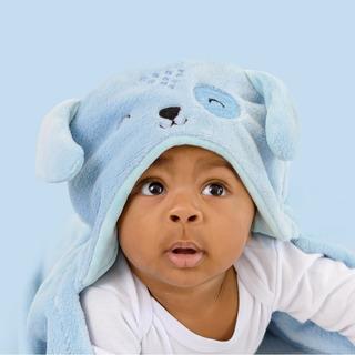 Cobertor Manta Microfibra Mami Bichuus Com Capuz Bebê Azul