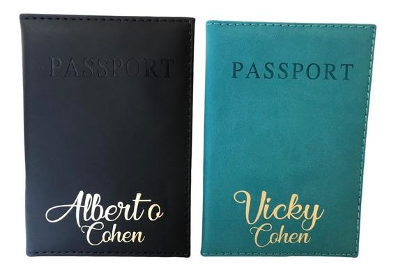 2 Dos Portapasaporte Personalizado Con Nombre O Iniciales