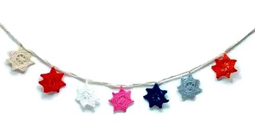 Imagen 1 de 3 de Adorno Crochet Guirnalda Decoracion 7 Estrellas