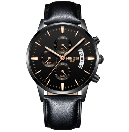 Relógio Nibosi Couro Original Funcional Pronta Entrega