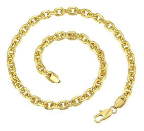 Corrente Masculina Banhada Em Ouro 18k Modelo Cartier 55cm