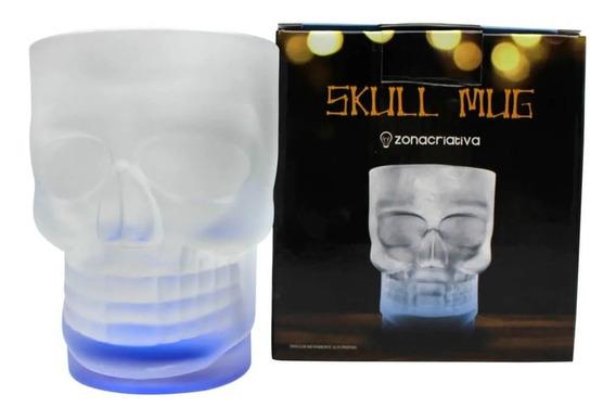 Caneca Vidro Caveira Skull Mug C/ Base Colorida 500ml