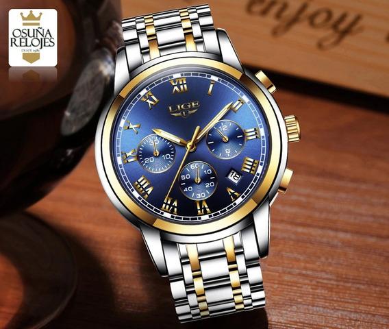 Relógio Masculino Luxo Original Dourado Aço Barato