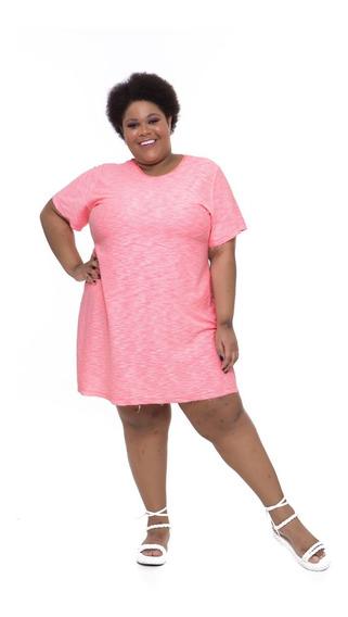 Vestido Camiseta Plus Size Wonder Size Rosa Neon