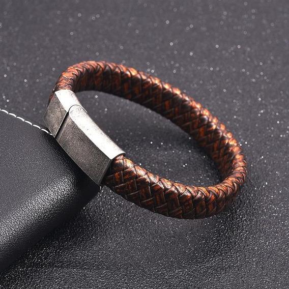Pulseira Bracelete Masculino Couro Genuino Com Fecho De Aço Estilo Antigo Vintage Marrom