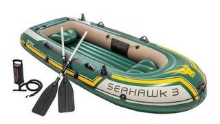 Combo Bote Inflable Intex Seahawk 3 Con Remos E Inflador Cuo