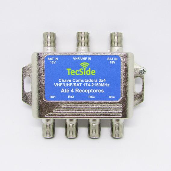 10 Chave Comutadora Saida 4 Receptore Banda C Ku Antena Uhf