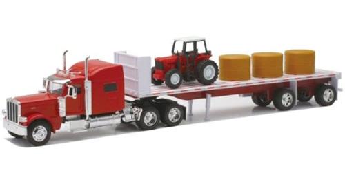 Newray Peterbilt 389 Con Hay Y Farm Tractor Playset 1/32 Sca