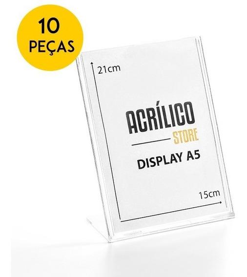 Display A5 Acrílico L Mesa Expositor Papel Kit 10 Peças