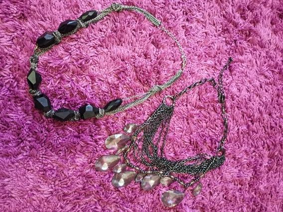 2 Collares Negro Y Plata
