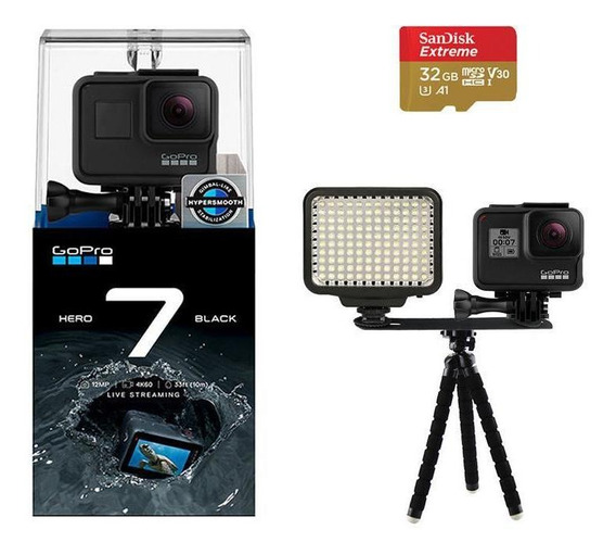 Kit Gopro Hero 7 Black 4k + Iluminador Led E Mini Tripé