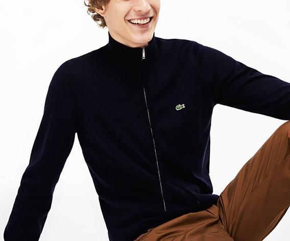 Lacoste Sweater Cardigan Con Cierre Hombre Lana