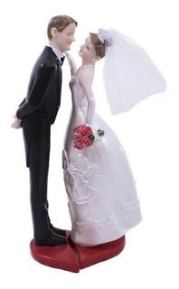 Topo De Bolo Casamento Casal Noivos Noivinhos Resina 18 Cm