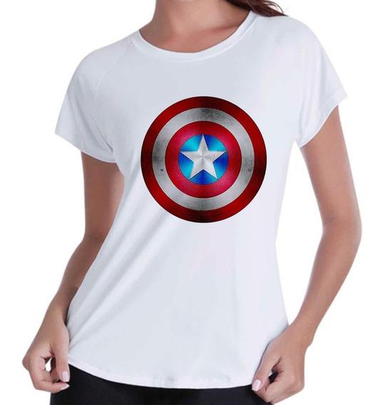 Camisa Camiseta Baby Look Capitão America Escudo Novo 3d